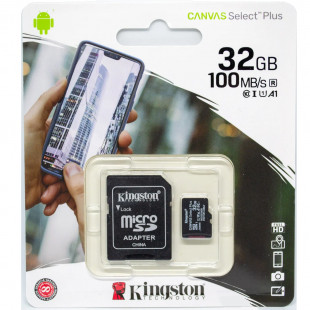 Kingston 32GB microSDHC C10 UHS-I R100MB/s Canvas Select Plus + SD